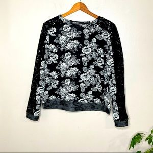 Hinge Floral Lace Textured Sweater Top